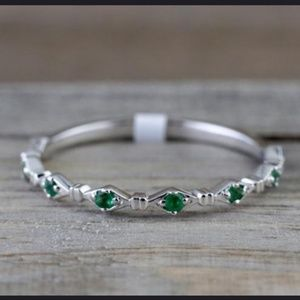 Jewelry - New 14k White Gold Emerald Stacking Bands